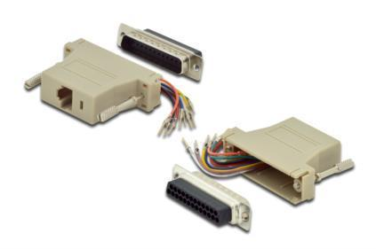 ASSMANN Adapter RS 232 DSUB 25pin St > RJ45 Bu